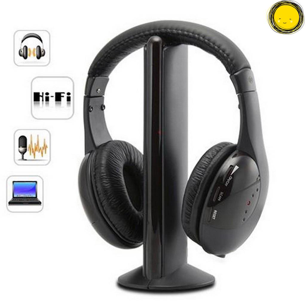 5 In 1 Headset Wireless Headphones Cordless RF Earphones For TV DVD PC