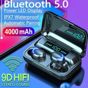 2020 9D HiFi Bluetooth 5.0 CVC8.0 Noise Reduction Stereo Wireless TWS Bluetooth Headset LED Display Headset Waterproof Dual Headphones